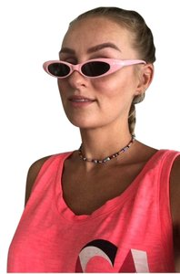 Unbranded pink sunglasses/ small tiny narrow sunglasses/ summer festival trends/ baby pink sunnies/ pink shades