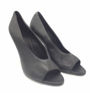Burberry Open Toe Heel 37 Leather Black Pumps