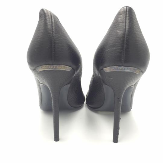 Burberry Open Toe Heel 37 Leather Black Pumps Image 1
