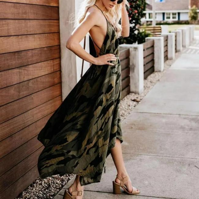 Green/Black Maxi Dress by Unbranded Image 3