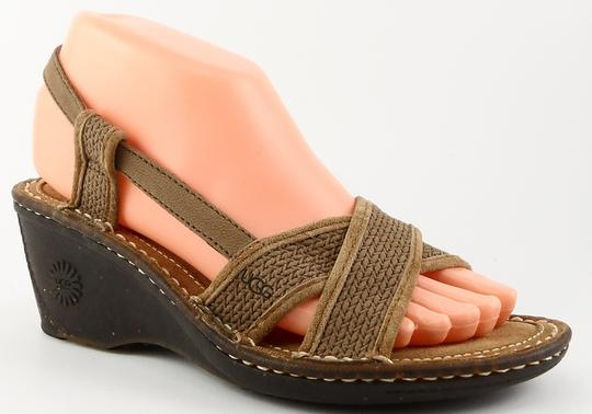 UGG Australia Rasberry Pink Suede Wedge Eur 40.5 Fawn Sandals Image 1