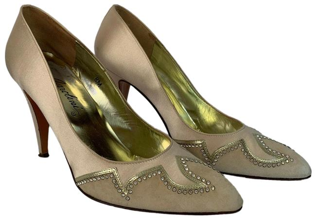 Garolini Beige Cora Satin & Suede Made In Italy Pumps Size US 8 Regular (M, B) Garolini Beige Cora Satin & Suede Made In Italy Pumps Size US 8 Regular (M, B) Image 1