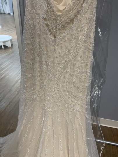 Maggie Sottero Ivory/Light Gold English Netting with Petra Formal Wedding Dress Size 12 (L) Image 5