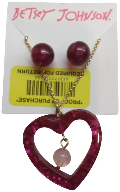 Betsey Johnson Magenta New Heart Necklace & Earrings Betsey Johnson Magenta New Heart Necklace & Earrings Image 1