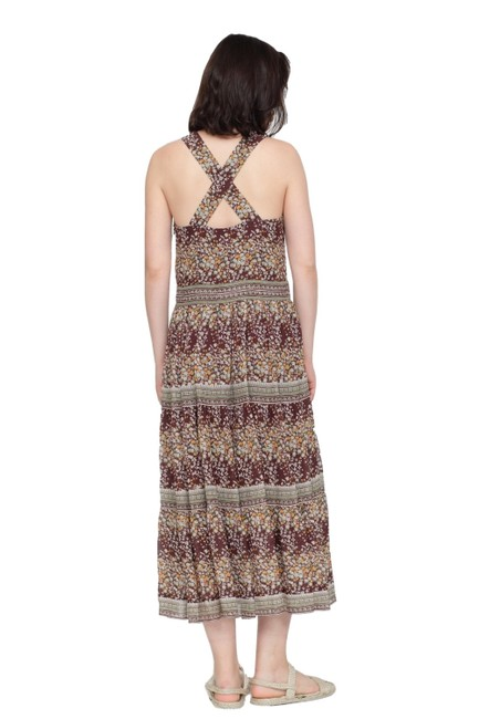 Sea Brown/Multi Tiered Tank Casual Maxi Dress Size 4 (S) Sea Brown/Multi Tiered Tank Casual Maxi Dress Size 4 (S) Image 1