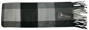 V. FRAAS Black & White, Gray Multicolor Plaid Fall Winter Fringed Flannel Scarf