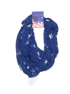 David & Young Americana Blue Silver Stars Infinity Scarf New
