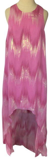 Erin Fetherston Pink Silk Metallic High Low Gown Formal Dress Size 2 (XS) Erin Fetherston Pink Silk Metallic High Low Gown Formal Dress Size 2 (XS) Image 1