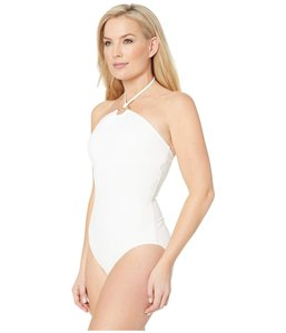 Michael Michael Michael Kors Iconic logo ring bandeau one piece White size 6