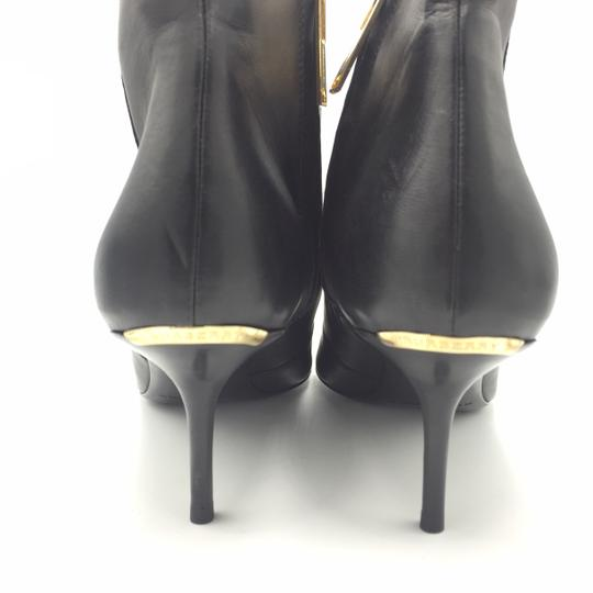 Burberry Ankle Leather Black & Gold Boots Image 2