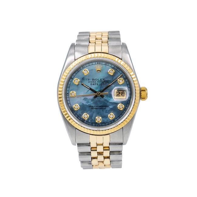 Rolex Blue Datejust 36mm Diamond Dial with Two Tone Bracelet Watch Rolex Blue Datejust 36mm Diamond Dial with Two Tone Bracelet Watch Image 1