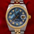 Rolex Blue Datejust 36mm Diamond Dial with Two Tone Bracelet Watch Rolex Blue Datejust 36mm Diamond Dial with Two Tone Bracelet Watch Image 2