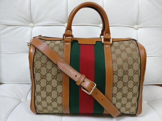 Gucci Gg Supreme Boston Web Satchel Cross Body Bag Image 0