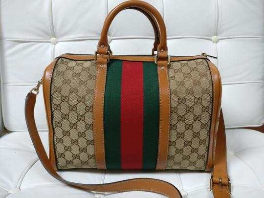 Gucci Gg Supreme Boston Web Satchel Cross Body Bag Image 4