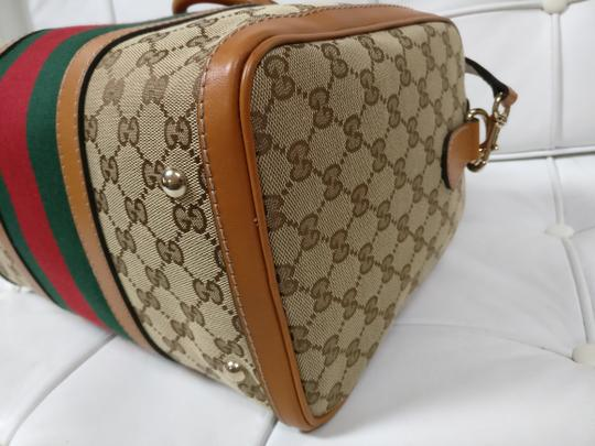 Gucci Gg Supreme Boston Web Satchel Cross Body Bag Image 8