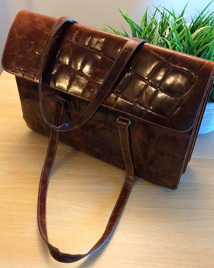 Furla Rare Vintage Leather Briefcase Briefcase Embossed Leather Made In Italy Laptop Bag Image 1
