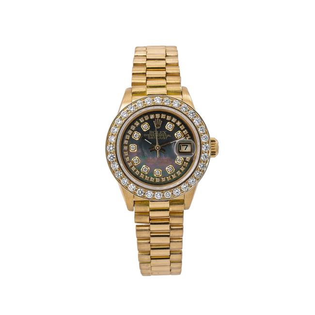 Rolex Black Lady-datejust 6917 26mm Diamond Dial with Yellow Gold Watch Rolex Black Lady-datejust 6917 26mm Diamond Dial with Yellow Gold Watch Image 1