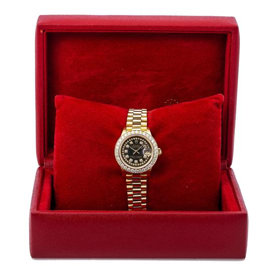 Rolex Rolex Lady-Datejust 6917 26MM Black Diamond Dial With Yellow Gold Image 5