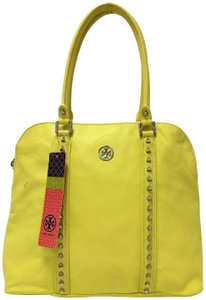 Tory Burch Dome Satchel Leather Studded Tote in Citrus