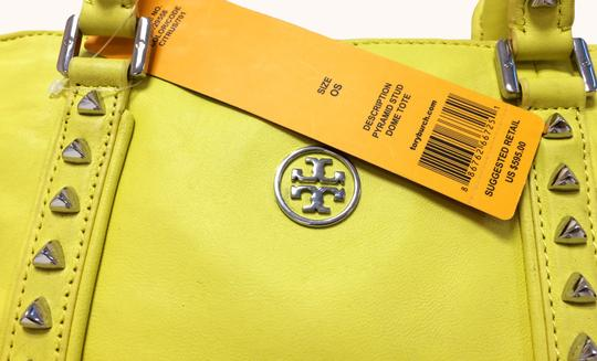 Tory Burch Dome Satchel Leather Studded Tote in Citrus Image 1