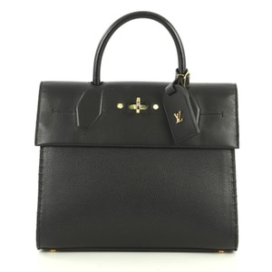 Louis Vuitton City Steamer Leather Satchel in black