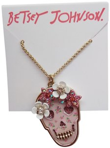Betsey Johnson Betsey Johnson New Pink Skull Necklace