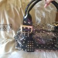 Be&D Satchel in Black and Gold studded Vinyl Image 3