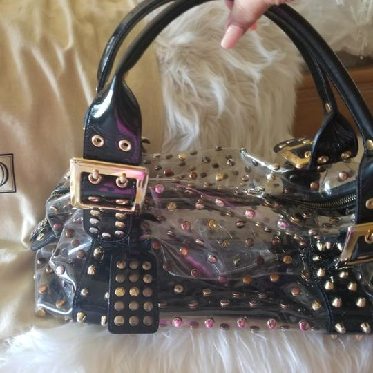 Be&D Satchel in Black and Gold studded Vinyl Image 6