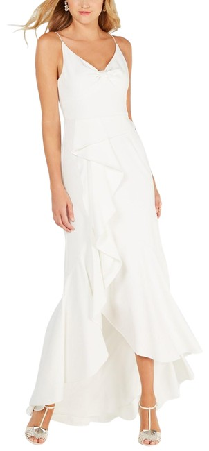 Item - Ivory Ruffled High-low Crepe Cascade Gown Long Formal Dress Size 10 (M)