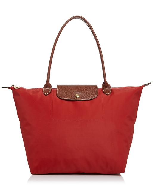 Item - Le Pliage Large Shoulder Burnt Red/Gold Nylon/Leather Tote