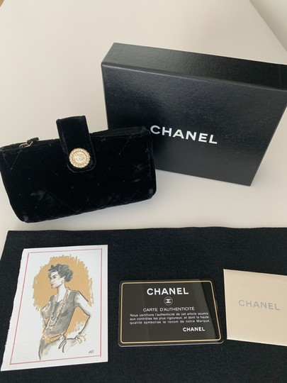 Chanel Quilted Flap Gold Black Clutch Image 1