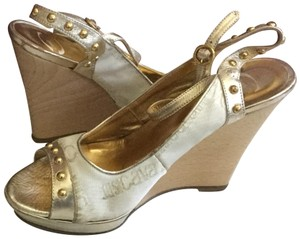 Just Cavalli White gold Wedges