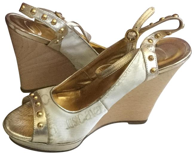 Just Cavalli White Gold Wedges Size EU 37 (Approx. US 7) Regular (M, B) Just Cavalli White Gold Wedges Size EU 37 (Approx. US 7) Regular (M, B) Image 1