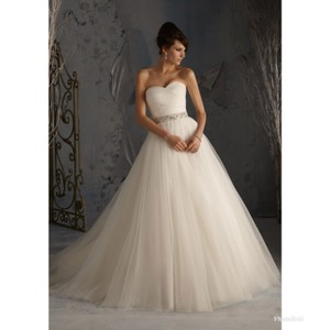 Mori Lee Ivory 5172 Modern Wedding Dress Size 10 (M)