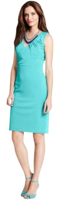 Preload https://img-static.tradesy.com/item/25834548/ann-taylor-tealgreen-crepe-bow-mid-length-workoffice-dress-size-6-s-0-2-650-650.jpg