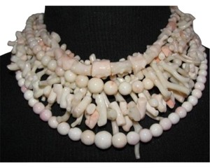 alberto juan Angelskin Coral Multi Strand Torsade Necklace w/ Sterling Silver Clasp