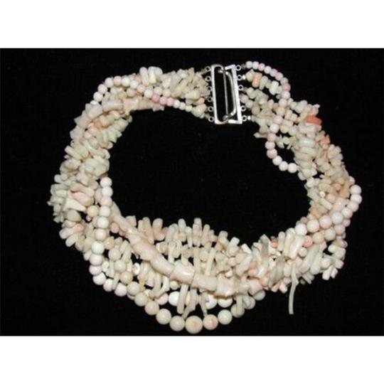 alberto juan Angelskin Coral Multi Strand Torsade Necklace w/ Sterling Silver Clasp Image 1