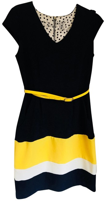 Preload https://img-static.tradesy.com/item/25834573/sandra-darren-navy-blue-with-yellow-and-white-stripe-at-bottom-046096-mid-length-workoffice-dress-si-0-1-650-650.jpg