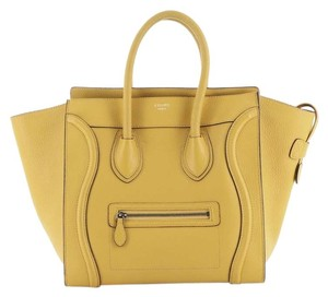 Céline Luggage Leather Satchel in yellow