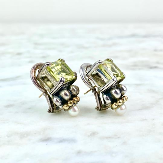 Lagos 18K and Sterling Silver Quartz Caviar Ear Clips Image 1