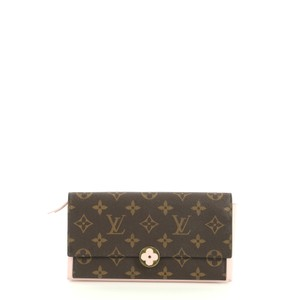 Louis Vuitton Flore Wallet Monogram Canvas Wristlet in brown