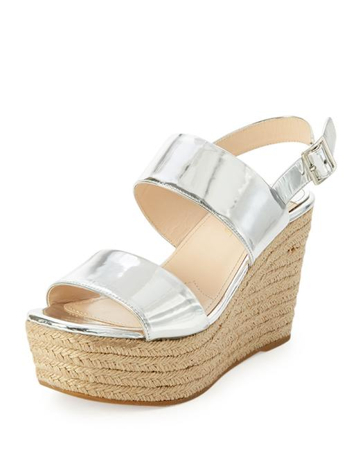Item - Silver Metallic Platform Espadrille Sandals Size EU 39.5 (Approx. US 9.5) Regular (M, B)
