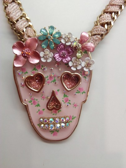 Betsey Johnson Betsey Johnson New Pink Skull Necklace & 3 Sets of Studs Image 2