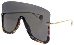 Gucci Havana Gold Black Mirrored Mask Rimless GG0540S
