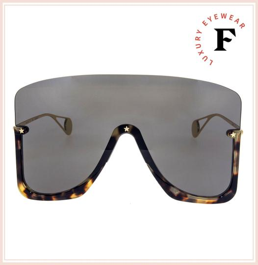Gucci Havana Gold Black Mirrored Mask Rimless GG0540S Image 4