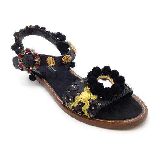 Preload https://img-static.tradesy.com/item/25834710/dolce-and-gabbana-black-gold-mirror-sandals-size-eu-37-approx-us-7-regular-m-b-0-1-540-540.jpg