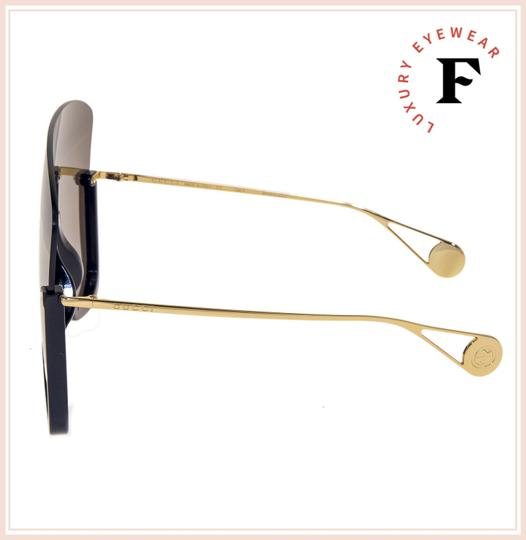 Gucci GUCCI STAR 0540 Black Gold Brown Oversized Mask Rimless GG0540S Image 2
