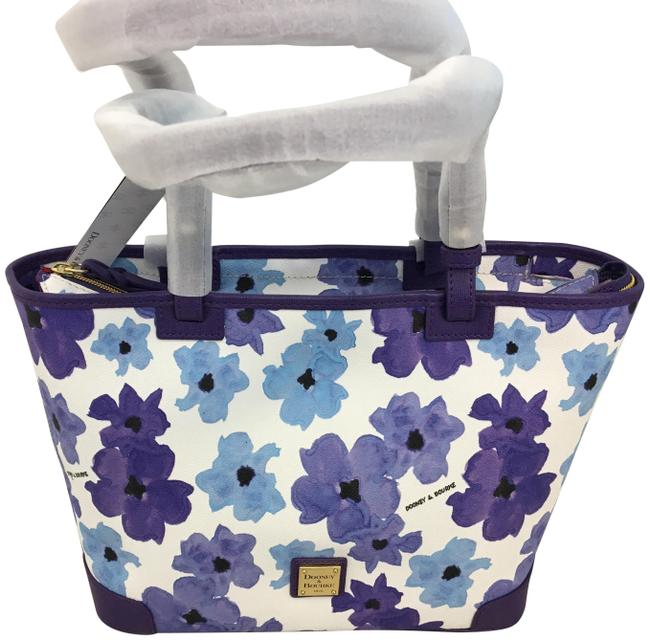 Dooney & Bourke Small Leisure Shopper Blue and White Coated Cotton/Saffiano Leather Tote Dooney & Bourke Small Leisure Shopper Blue and White Coated Cotton/Saffiano Leather Tote Image 1