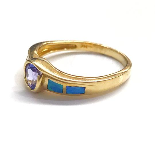 DeWitt's BEAUTIFUL!! GENUINE DEWITT ESTATE COLLECTION!! 14 Karat Yellow Gold, Tanzanite, Opal and Diamond Ring Image 2