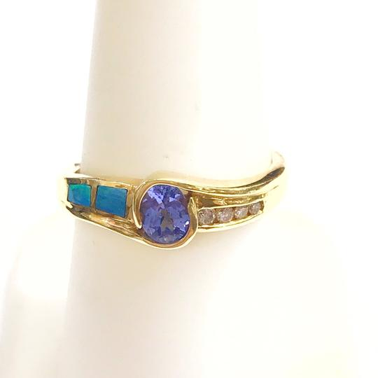 DeWitt's BEAUTIFUL!! GENUINE DEWITT ESTATE COLLECTION!! 14 Karat Yellow Gold, Tanzanite, Opal and Diamond Ring Image 4